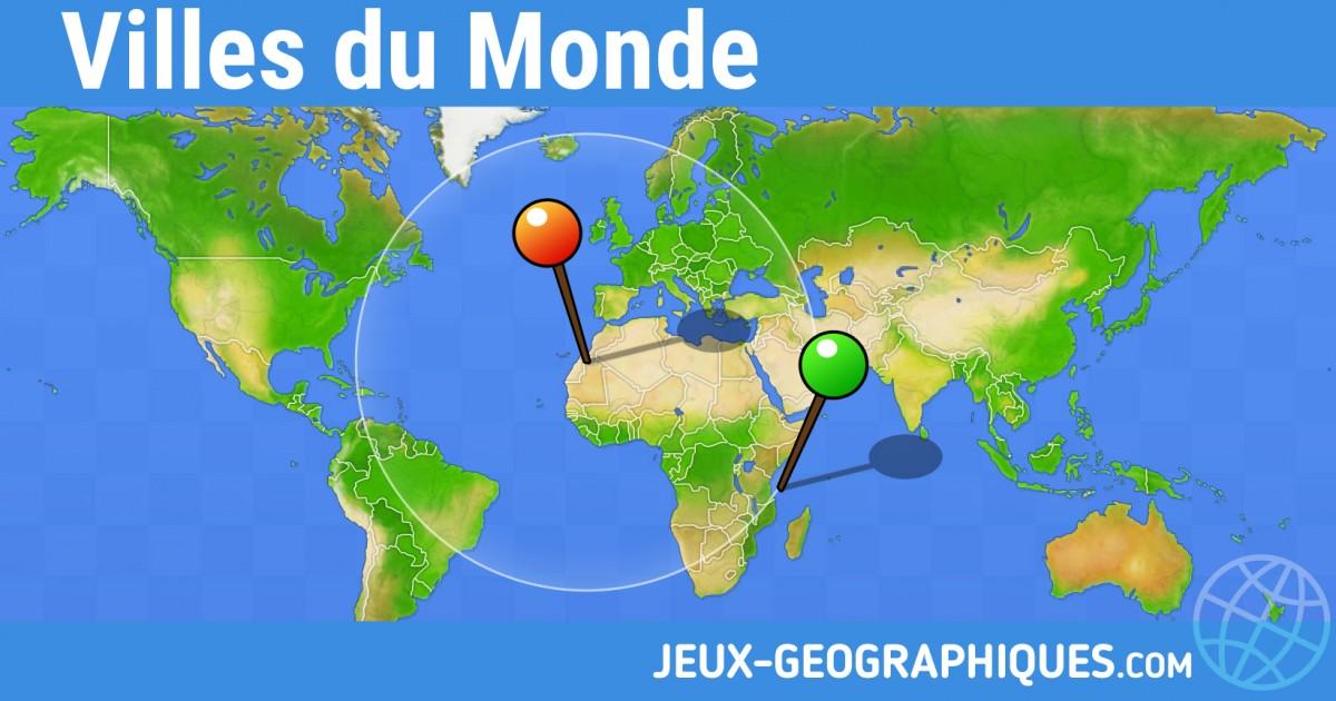 quiz carte du monde jeux geographiques.jeux gratuits Jeu Villes du Monde